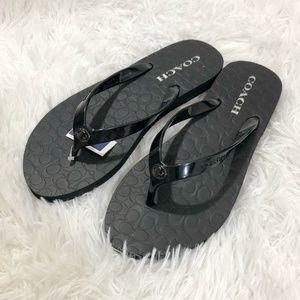 NEW Women's Black Coach Flip Flop Sandals sz 8